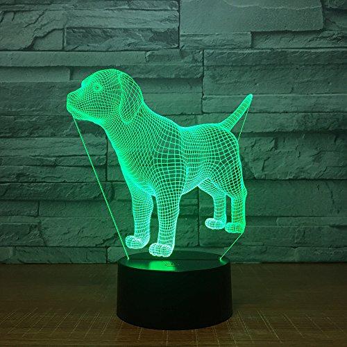 3d chien Illusion lampe de lumière de nuit 7 couleurs changeantes Touch USB Table Nice Cadeau jouet Décoration