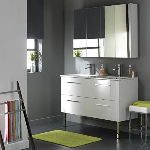 SOLDES Meuble double vasque 4 tiroirs Blanc Laqué Blanc PLANETE BAIN