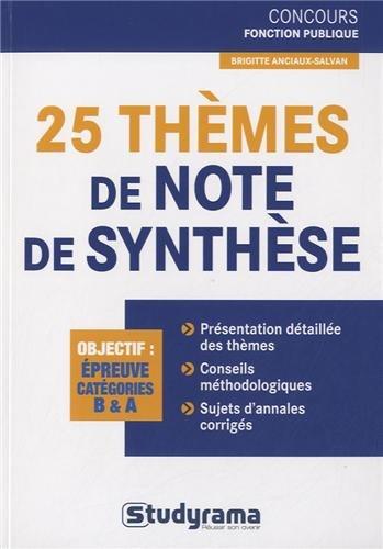 25 thèmes de note de synthèse