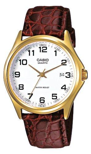 CASIO MTP-1188PQ-7B – Reloj con correa de cuero, para hombre, color blanco y marrón