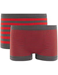 Pomm'poire - Lot de 2 boxers boy rayés gris/rouge Stripes by Djembé - Enfant