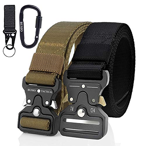 TOUROAM Militärischer taktischer Gürtel 2er-Pack Hochleistungs-Nylongürtel mit Metallschnalle und Schnellverschluss, Khaki Tactical MOLLE Army Gun Belt (Black+Tan) -