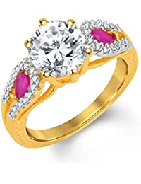 Sukkhi Briliant Gold And Rhodium Plated CZ And Ruby Studded Ring For Women