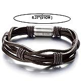 Handarbeit Herren Leatherarmband Schwarz Leather Armreif mit Edelstahl Magnetverschluss - 4