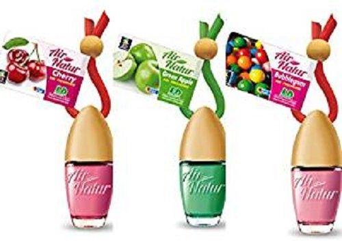 3 Stylisch-modische Air Natur Little Bottle Duftflakons Lufterfrischer Auto- und Raumduft 6ml - 1 x Apple - Apfel, 1 x Cherry - Kirsche, 1 x Bubble Gum - Kaugummi