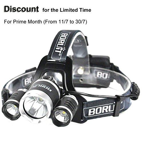 Boruit USB Wiederaufladbare Stirnlampe Super Hell Kopflampe Wasserdicht Stirnlampen 3 LED Lichtquelle 4 Modi 5000 Lumens für Camping Wandern Nachtangeln
