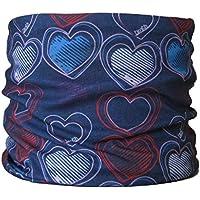 Braga para el cuello, pañuelo de microfibra multifunción, diseño de corazones oscuros