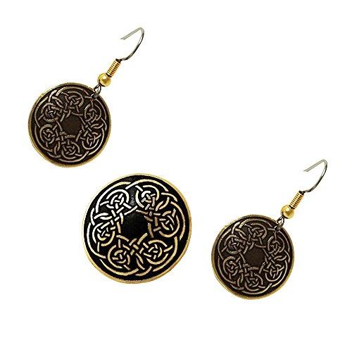 Handcrafted ottone inciso, Celtic Knot, di modo rotondo Spilla Orecchini Set