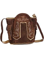 Trachten-Handtasche aus Echtleder, 15cm, hellbraun