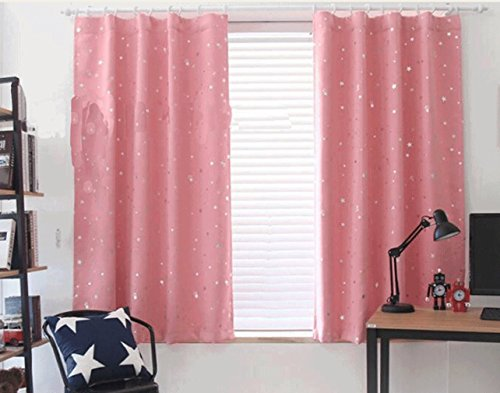 Yiyida Pair of Foil Stars Blackout Room Darkening Pencil Pleat Microfiber Curtains Thermal Insulated for Kid's Room 2m x 2.7m (Pink)
