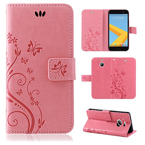 betterfon | Flower Case Handytasche Schutzhülle Blumen Klapptasche Handyhülle Handy Schale für HTC 10 Evo Rosa