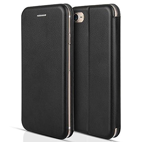 Coque Centopi iPhone 7, iPhone 8 Coque – Etui Mince En Cuir Avec Fentes ID / Cartes – Housse Portefeuille Folio Avec Stand Pour iPhone 7 (2016) et iPhone 8 (2017)