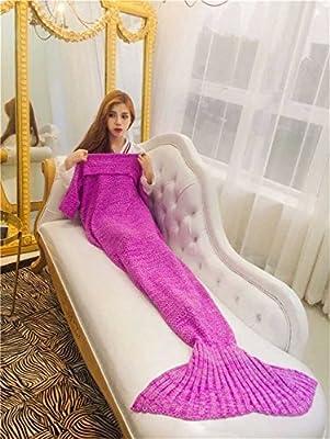 BP@ Sirena Manta hecha a mano de ganchillo sirena de punto de aleta de patrones de tejido paño grueso y suave de la sirena de cola manta para dormir bolsa para adultos. (190*90, rosa)