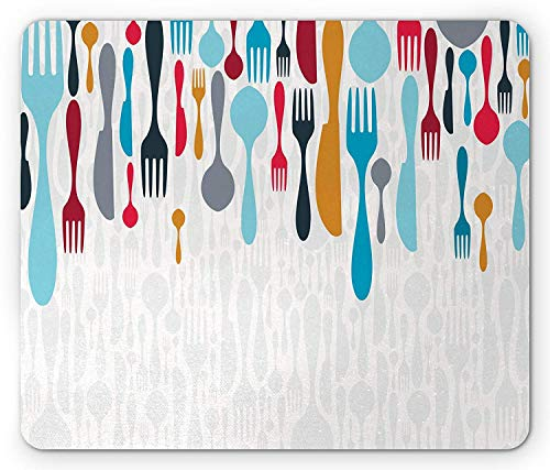 Colorful Mouse Pad, Colorful Cutlery Background Dining Gourmet Fork Spoon Cooking Tools Design Gaming Mousepad Office Mouse Mat Blue White Red -