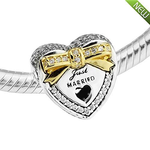 PANDOCCI 2017 Frühling authentische 100% 925 Sterling Silber Hochzeit Herz Perlen mit Gold Bowknot passt für Pandora Armbänder Schmuck Making
