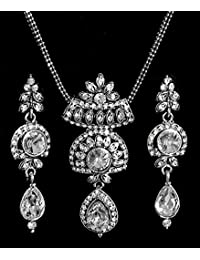 DollsofIndia White Stone Studded Pendant With Chain And Earrings - Stone And Metal (EQ19-mod) - White