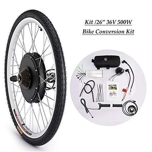 Sfeomi Elektrisches Fahrrad-Umbausatz 26 Zoll 36V 500W E-Bike Conversion Kit Elektro-Fahrrad Kit Ebike Elektrofahrrad Umbausatz Bürstenlose Motornabe (Vorderrad)