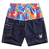Echinodon Jungen Badehose Badeshorts Aufdruck Sweatshorts Urlaub Strand-shorts B-Orange