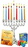 Hanukkah Essentials juego completo de Hanukkah Menorah. menorá–Velas–Dreidels–Vela Magic Stick–Hanukkah Manual