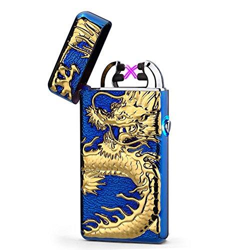 USB Elektronisches Drache Feuerzeug Lichtbogen Zigarettenanz&uumlnder Flammenlose Windgesch&uumltzter Aufladbar (Blau)