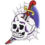 Sunny Buick - Cobweb Skull Knife autocollant Sticker - 4'' x 5.75'' - Weather Resistant, Long Lasting for Any Surface