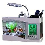 Chengstore Aquaponic Fish Tank, USB Piccolo Mini Fish Bowl con Desktop visualizzazione Ecologica Acquario LED Orologio, Bianco, 24x 10x 19CM