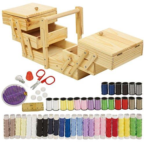 68pc Kit de costura y de costura de madera organizador caja