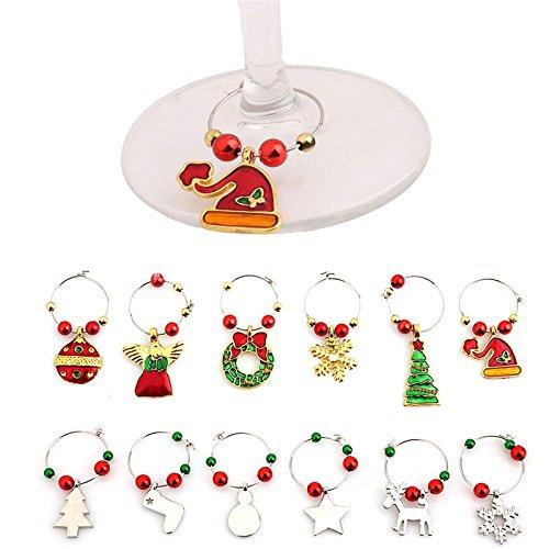rokoo 6PCS/set Mode Wein Tasse Ring für Party für Hochzeiten Glas Weihnachten Glas Hainbuchen Marker Becher Etiketten Tisch Dekoration