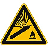 Aufkleber Warnung vor Gasflaschen Warnzeichen Größe (SL): 10,0cm Folie