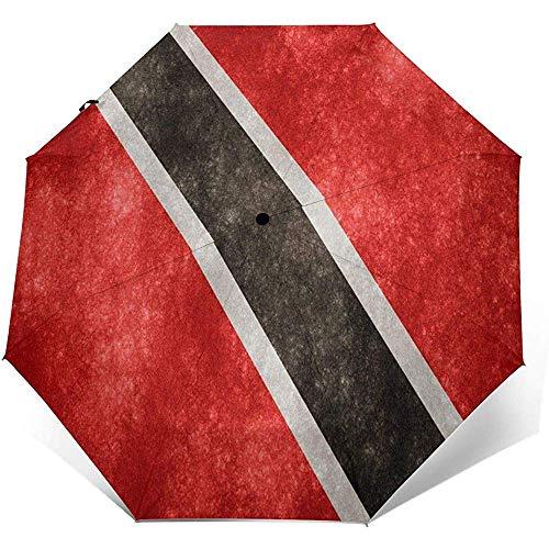 Automatischer dreifachgefalteter Regenschirm Trinidad und Tobago Fahnendruck Winddicht Kompakter, dreifachgefalteter Regenschirm mit automatischer Öffnung