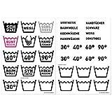 Wandkings Wäsche Aufkleber - selbstklebende & transparente Etiketten zum einfachen Wäsche sortieren - inkl. Etiketten zum selber beschreiben - 37 Sticker