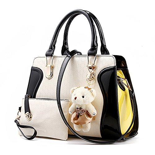 Damenhandtaschen PU Leder Handtaschen Frauen Tasche Damentaschen Ledertasche Damen Schultertasche mit Geldbörse und Dekoration Bär Rot Schwarz