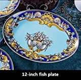 WBFN Piatti Piatti, Blue Ocean Bone China Piatti Piastre Occidentale Clubhouse Ottimizzata Piastra The Sea CeramicTableware Decorativo (Color : 12 inch Fish Plate)