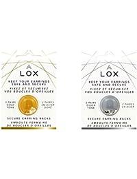 Lox Aloxia - Cierre de seguridad para pendientes, hipoalergénico,color dorado o plateado,4 pares