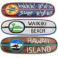 3 Decoración Tabla de surf 60cm WAIKIKI PLAYA Surfriders, HAWAI Island Tabla de surf