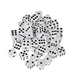 Dosige 100Pack 8mm White Plastic Dice Opaque Spot Dice Casino Dice