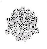 Dosige 100Pack 8mm White Plastic Dice Opaque Spot Dice Casino Dice