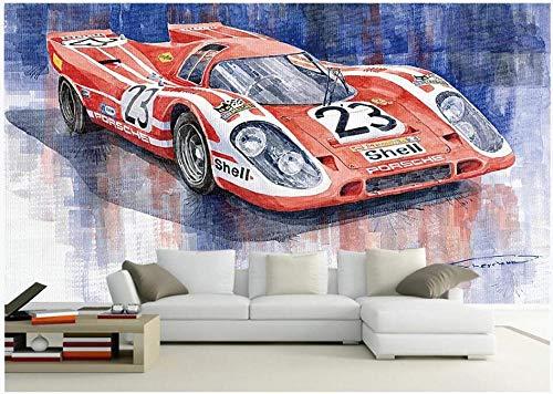 YOOMAY 3D Wallpaper Benutzerdefinierte Foto Hand bemalt rot 23 Auto Hintergrund Wohnzimmer wohnkultur 3D wandbild tapete für wände @ 200x140_cm_ (78.7_by_55.1_in_) _