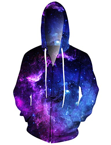 NEWISTAR 3d Grafico di Lupo Zip Hooded Sweatshirt, cappuccio XL