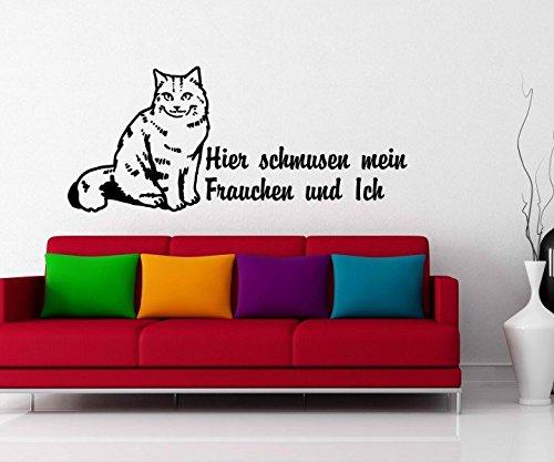 Wandtattoo Spruch Hier schmusen mein Frauchen & ich Katze langhaar Kätzchen Tiere Wand Auto Aufkleber Wohnzimmer 5B407, Farbe:Schwarz glanz;Breite vom Motiv:40cm