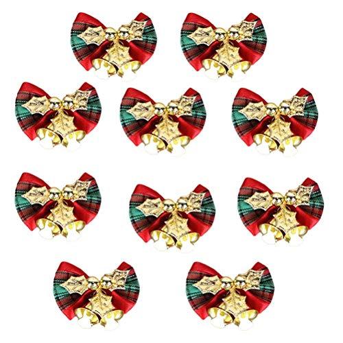 SUPVOX 10 stücke 5 cm Weihnachtsbaum Bowknot Ornament Mini Jingle Bell Hochzeit Geburtstag Gastgeschenke Festliche Rot Urlaub Hängende Decor (Bow Topper Tree)