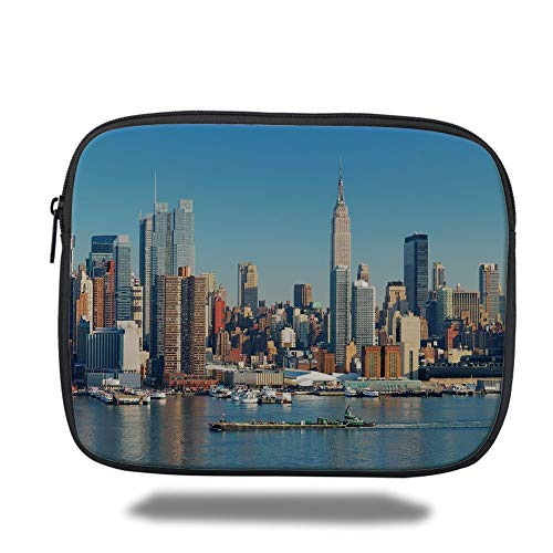 Tablet Bag for Ipad air 2/3/4/mini 9.7 inch,New York,Urban City Skyline Manhattan with Empire State Building Over Hudson River Panorama,Blue Grey,3D Print - New York-slim Briefcase