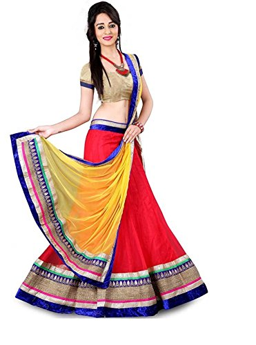 M&M WORLD. Velvet & Net Lehenga Choli (01-LH-KED-RED_Multicolor_Free Size )