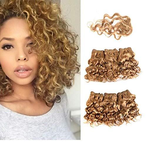QQHair Hair Weave Schuss für Frauen 6 Bundles 220g (6pcs 8Inch) 100% Extensions Bundles und Schließung Blond-Gold