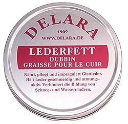 DELARA Hochwertiges Lederfett, nährt, imprägniert und pflegt Schuhe, Taschen, Reitsättel und Möbel aus Leder, Dose mit 75 ml, farblos - Made in Germany