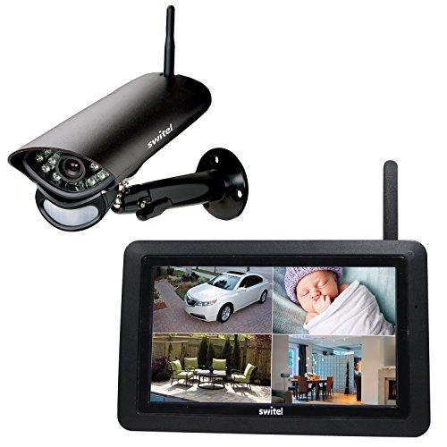 SWITEL HS2000 Digitales HD-Funküberwachungssystem, wetterfeste Außenkamera. Großer Touch-Screen-Monitor, Videoaufzeichnung, Gegensprech- und Alarmfunktion, Nachtsicht, schwarz