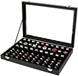 H&S® Glass Lid 100 Ring Jewellery Display Storage Box Tray Case Organiser - Black