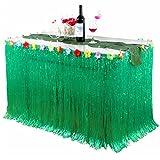 Tischröcke Hawaii, Hawaii Luau Deko Hibiscus Gras Party Tischdecke Hawaii Luau Tischdeko Partyartikel mit Blumen für BBQ tropischen Garten Strand Sommer DIY Party Dekoration Geburtstage Hausgemachtes Kostüm Rock Festival (Grün)
