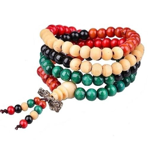 Jellybean UK Verkäufer Multi tibetisch-buddhistischen Holz Armband Mala Gebet Perlen - Gebet Halskette Buddhismus Perlen