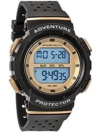 Reloj deportivo deportivo unisex negro y dorado digital resistente al agua SP12705